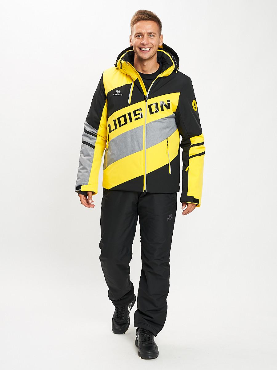Купить оптом Горнолыжный костюм мужской желтого цвета 077022J в Екатеринбурге