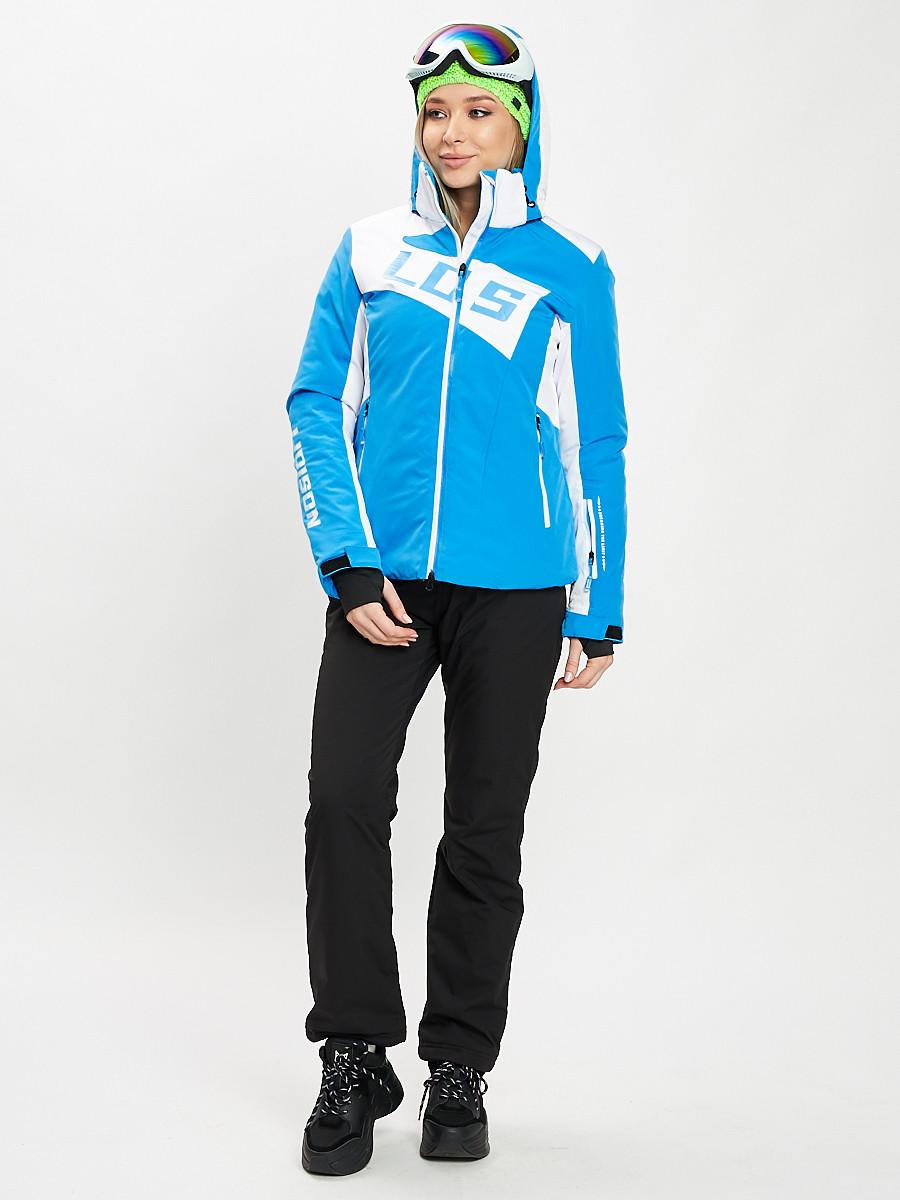 Купить оптом Горнолыжный костюм женский синего цвета 077030S в Екатеринбурге