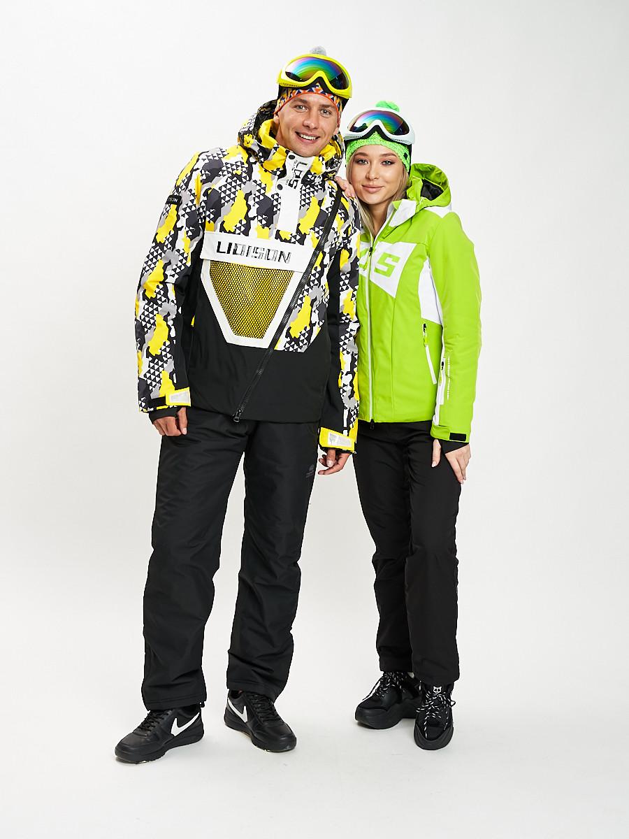 Купить оптом Горнолыжный костюм женский зеленого цвета 077030Z в Екатеринбурге