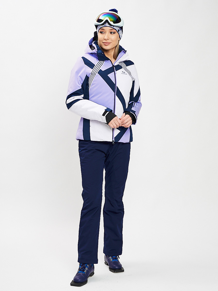 Купить оптом Горнолыжный костюм женский фиолетового цвета 077031F в Екатеринбурге