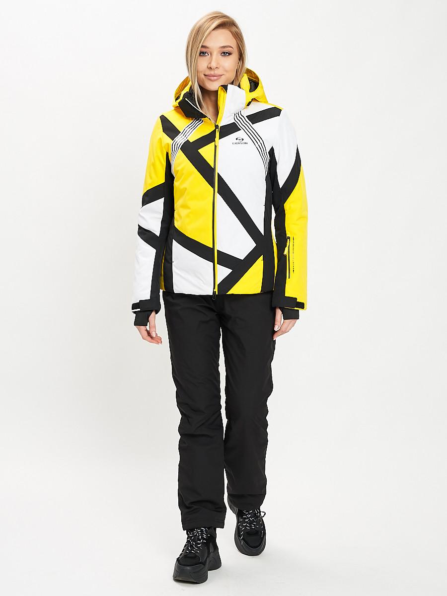 Купить оптом Горнолыжный костюм женский желтого цвета 077031J в Екатеринбурге