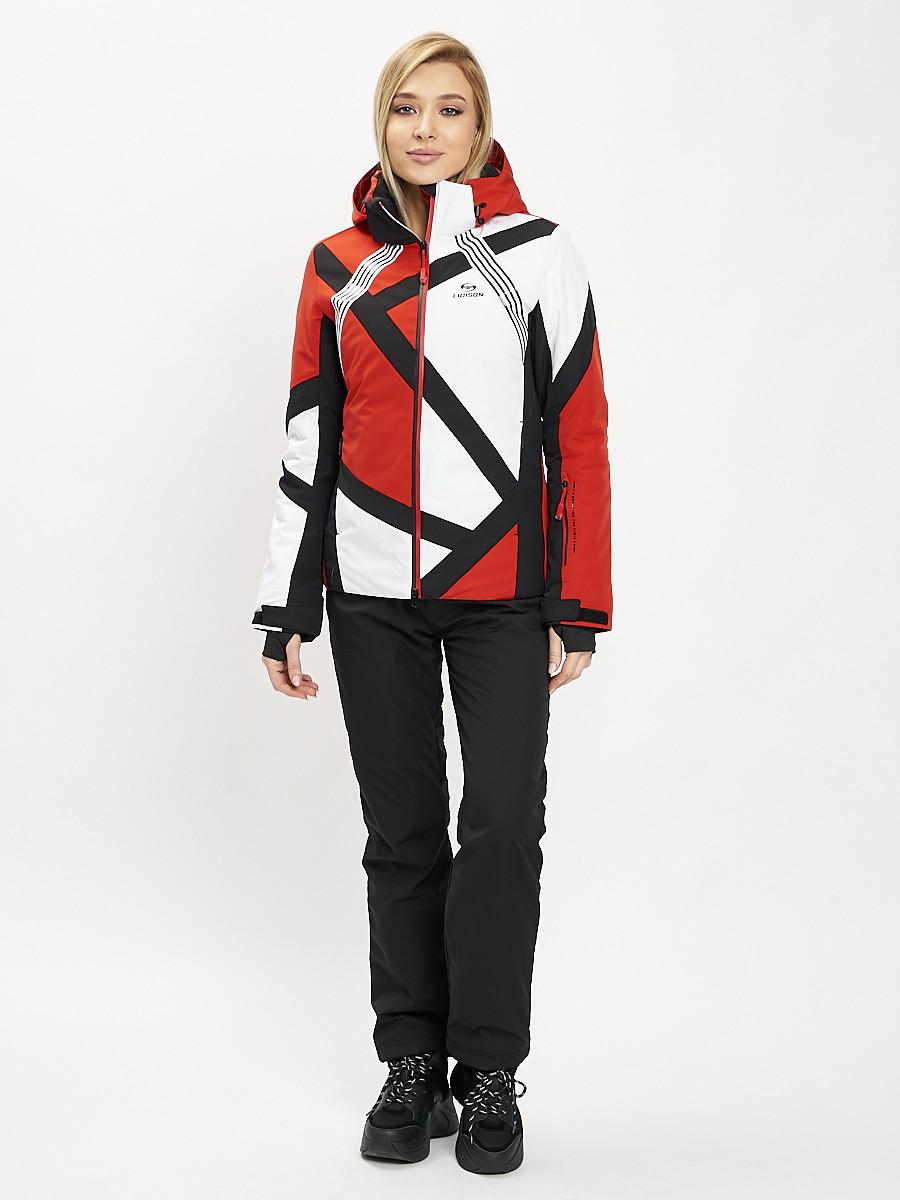 Купить оптом Горнолыжный костюм женский красного цвета 077031Kr в Екатеринбурге