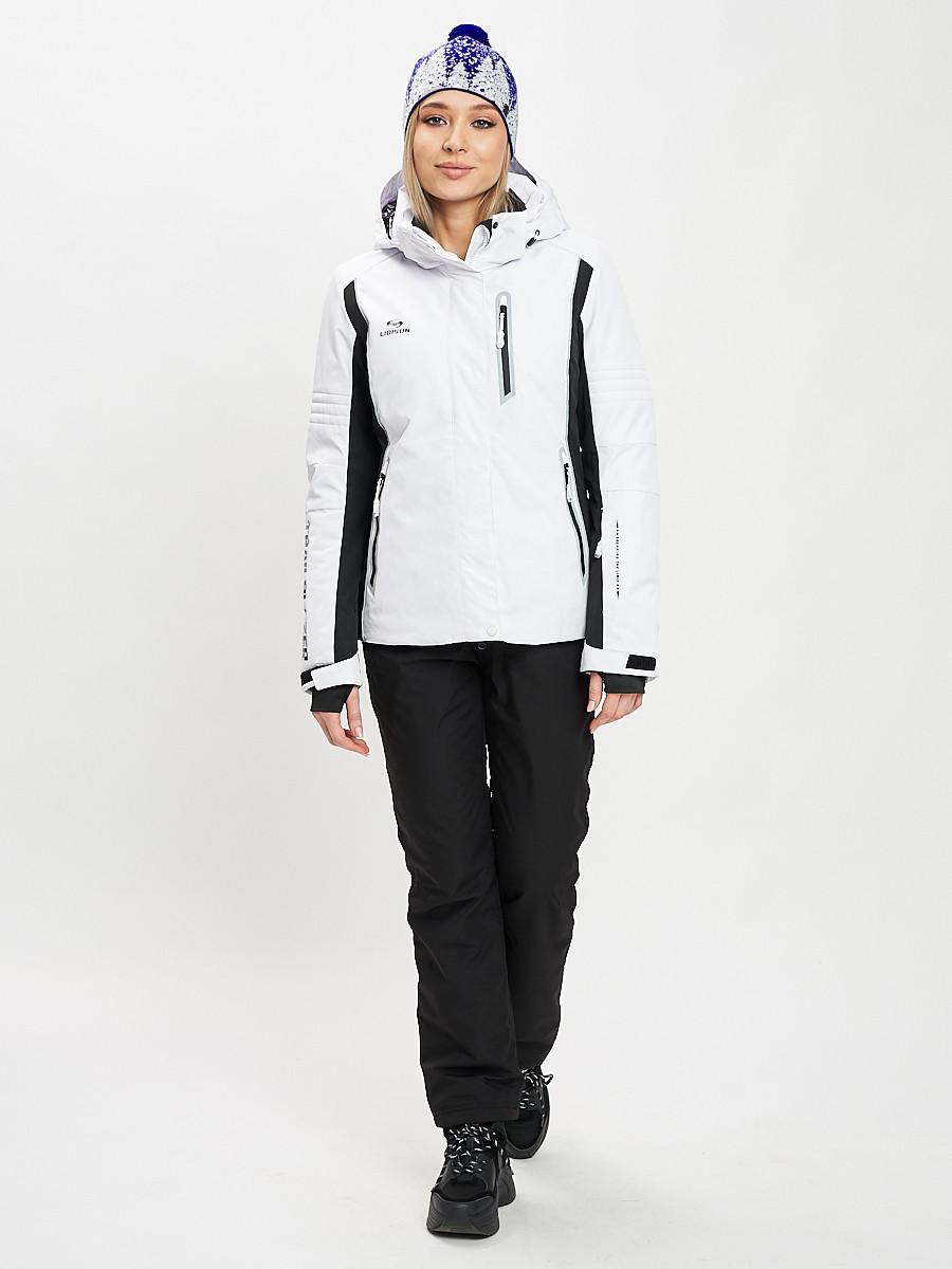 Купить оптом Горнолыжный костюм женский белого цвета 077034Bl в Екатеринбурге