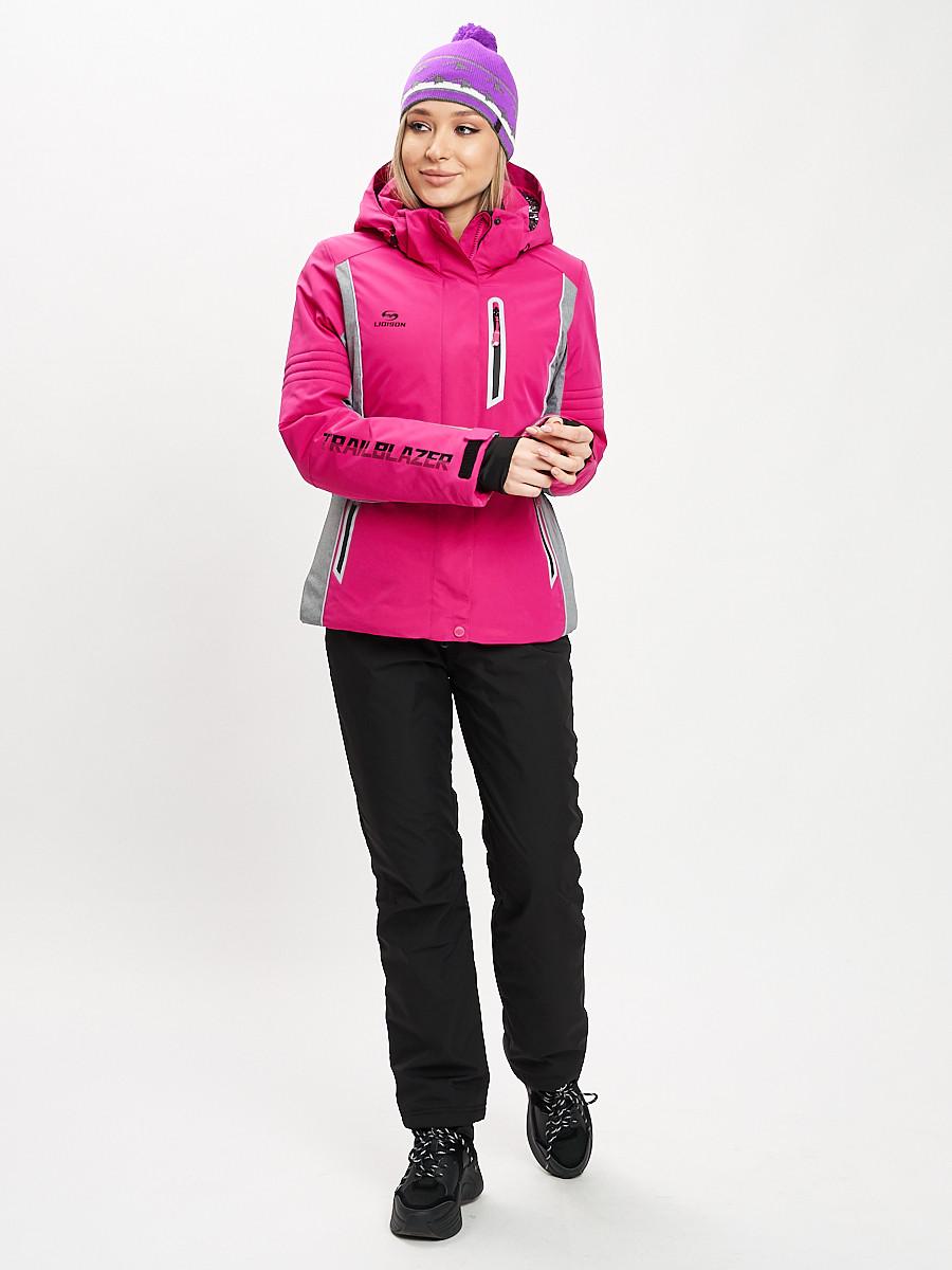Купить оптом Горнолыжный костюм женский розового цвета 077034R в Екатеринбурге