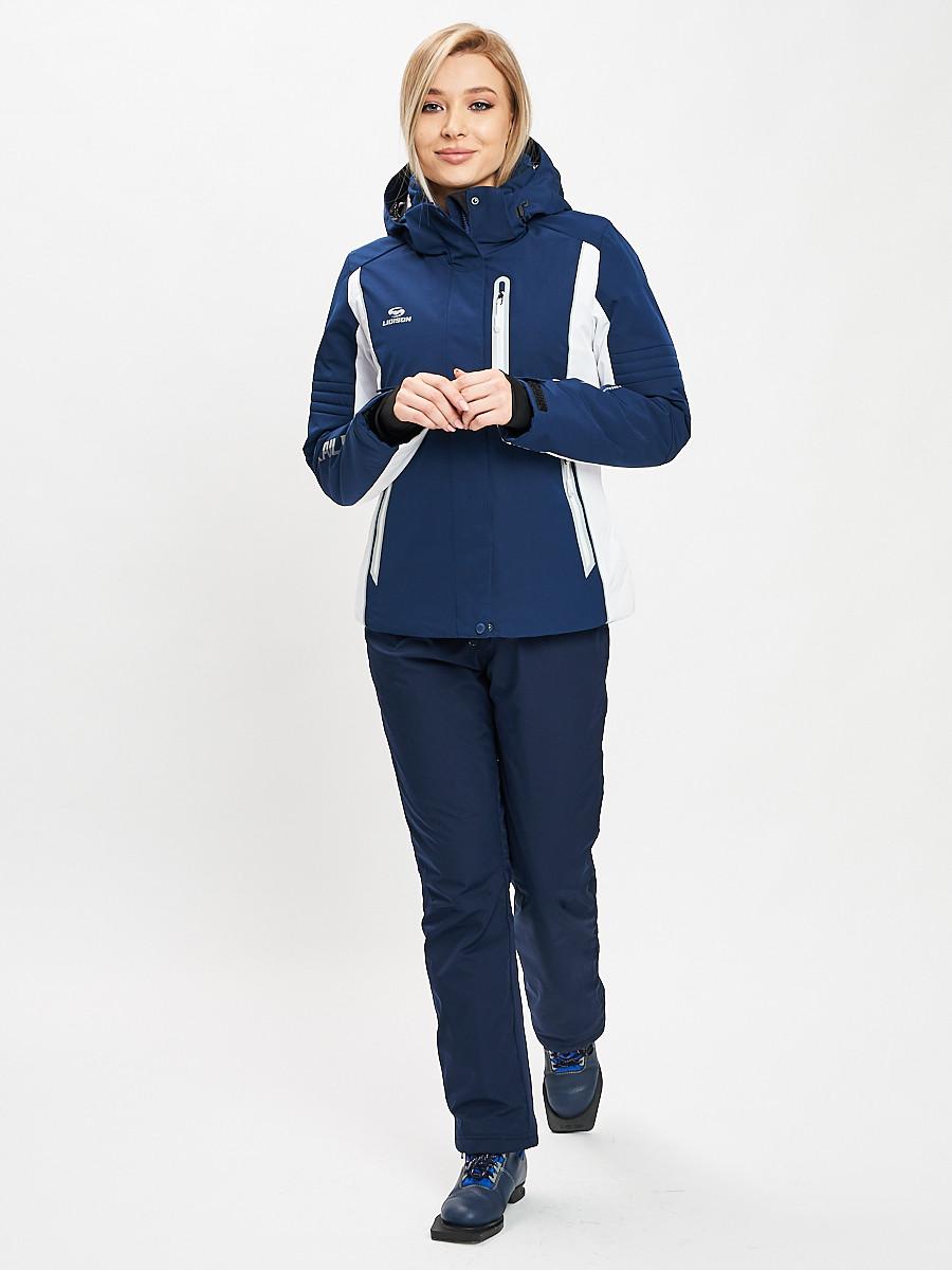 Купить оптом Горнолыжный костюм женский темно-синего цвета 077034TS в Екатеринбурге