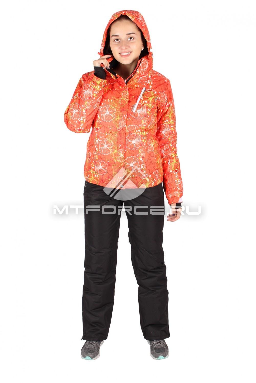 Купить оптом Костюм горнолыжный женский оранжевого цвета 078O