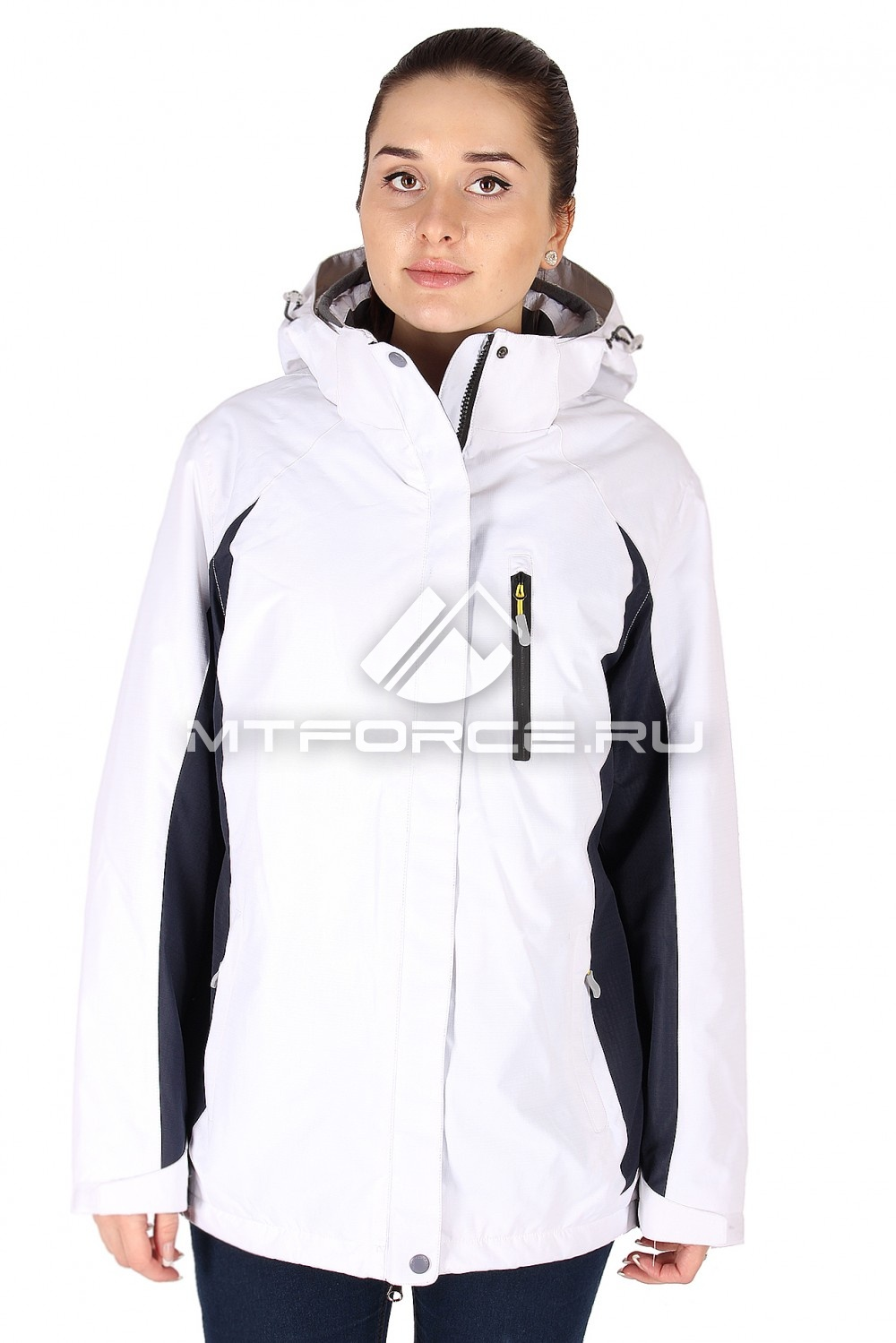 Купить                                  оптом Куртка спортивная женская батал белого цвета 097Bl