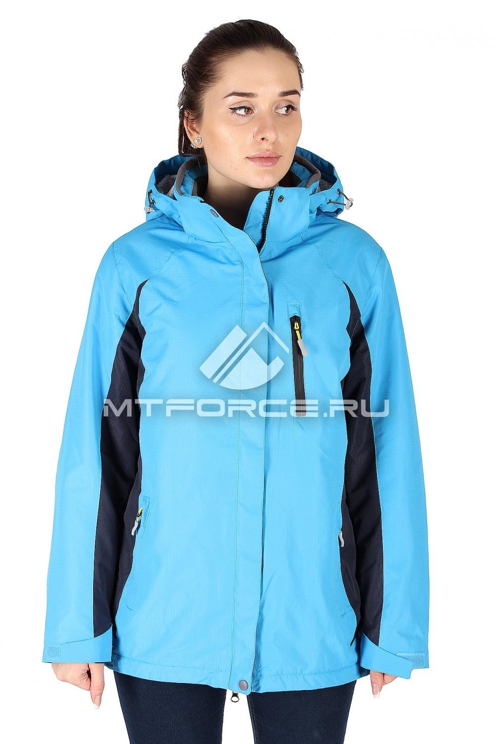 Купить оптом Куртка спортивная женская батал синего цвета 097S