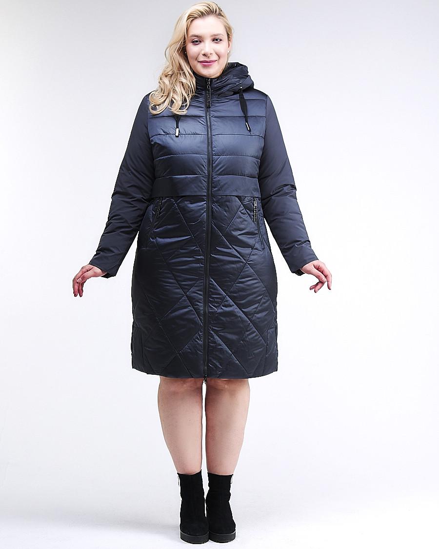Купить оптом Куртка зимняя женская классическая темно-синего цвета 100-916_123TS в Казани