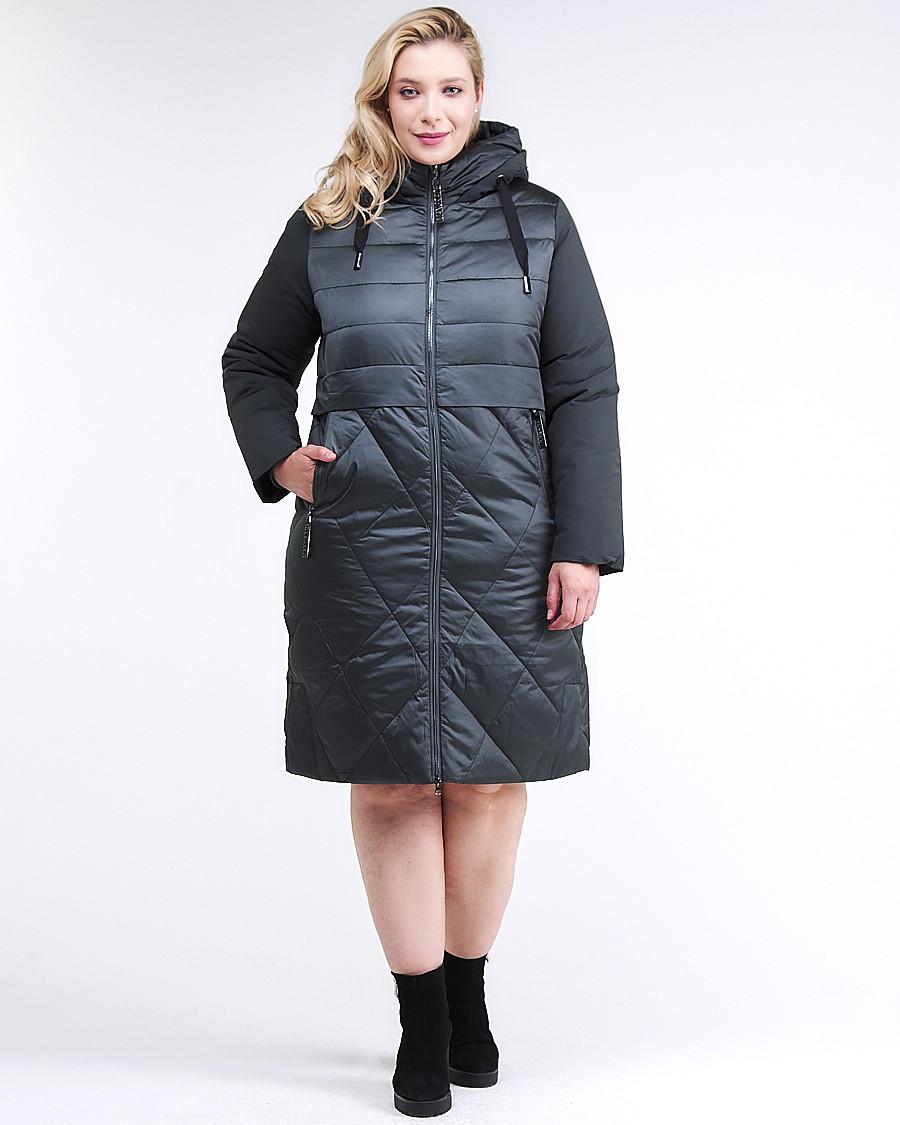 Купить оптом Куртка зимняя женская классическая темно-зеленого цвета 100-916_150TZ в Казани