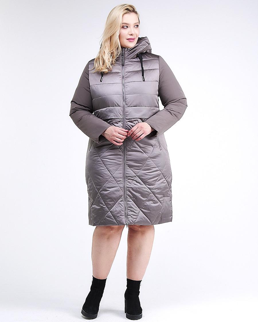 Купить оптом Куртка зимняя женская классическая коричневого цвета 100-916_48K в Нижнем Новгороде