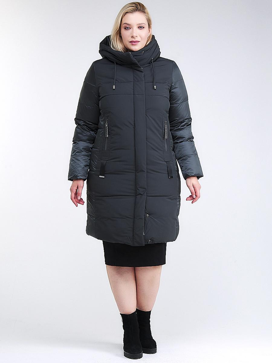 Купить оптом Куртка зимняя женская классическая темно-зеленого цвета 100-921_150TZ в Казани