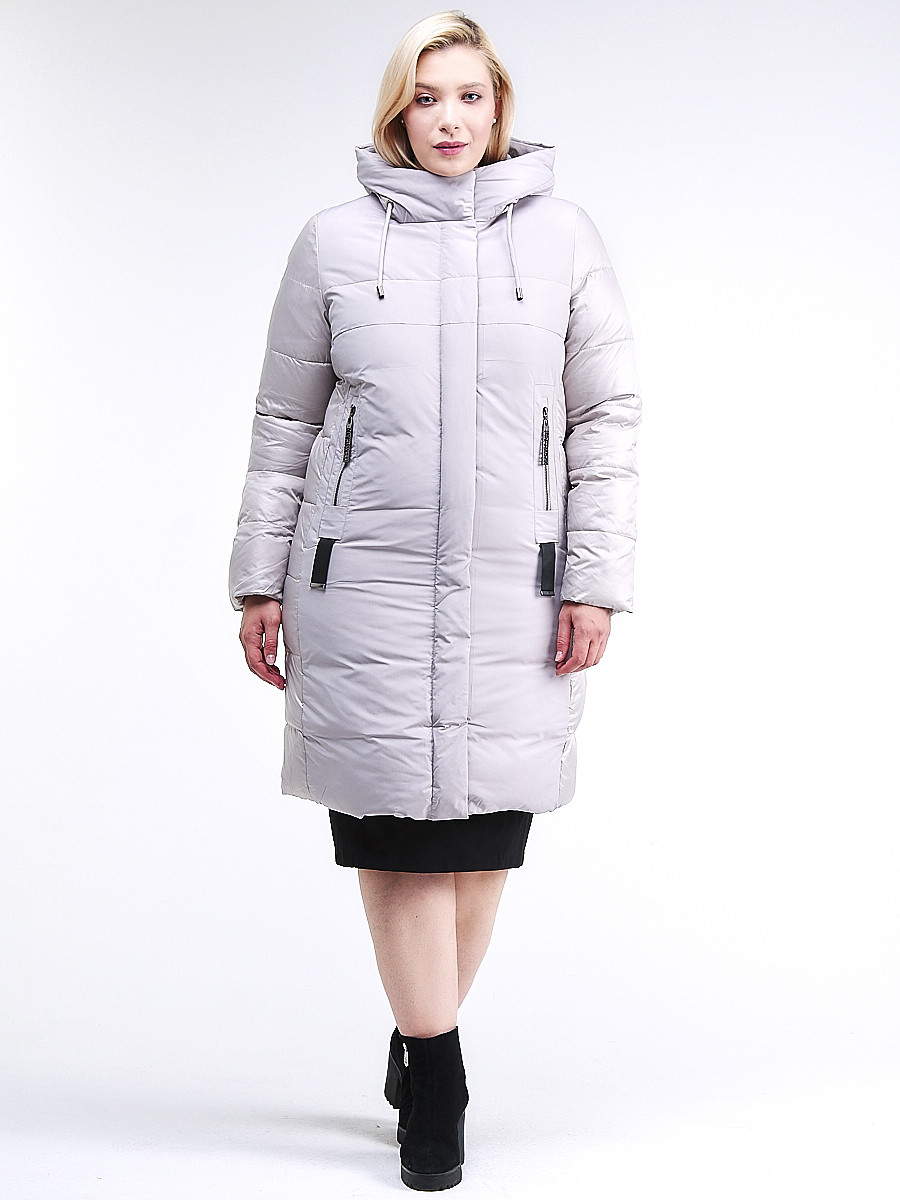 Купить оптом Куртка зимняя женская классическая серого цвета 100-921_46Sr в Екатеринбурге