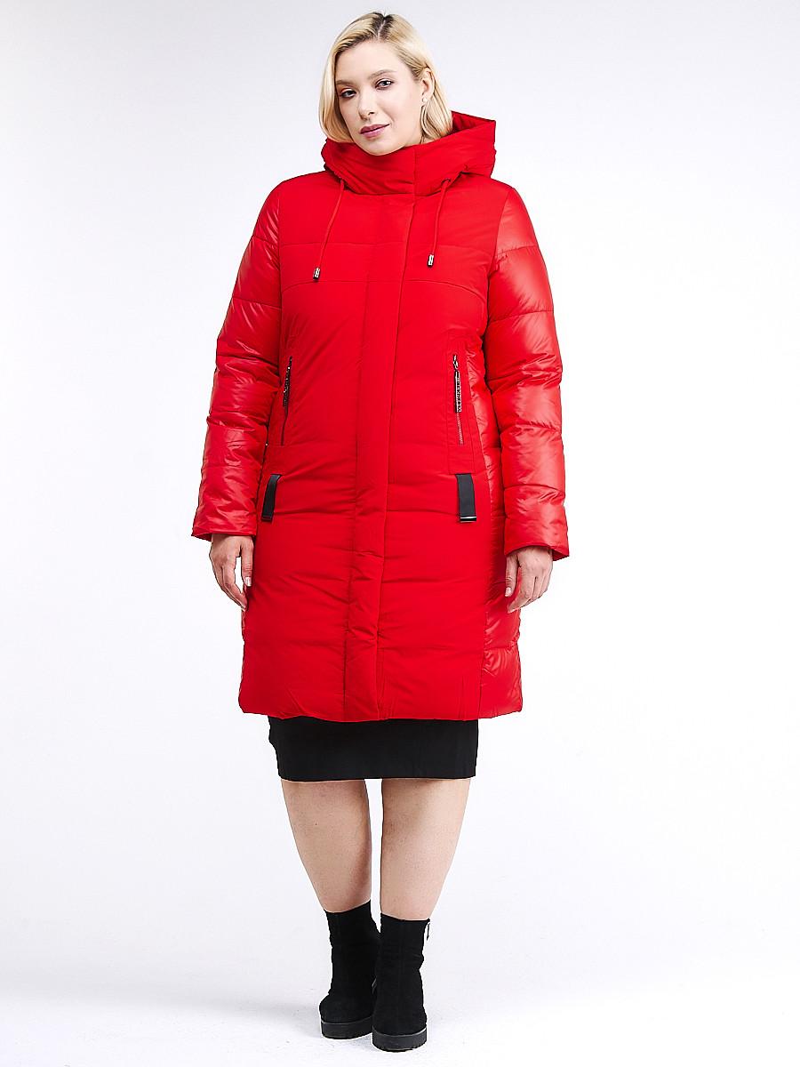 Купить оптом Куртка зимняя женская классическая красного цвета 100-921_7Kr в Казани