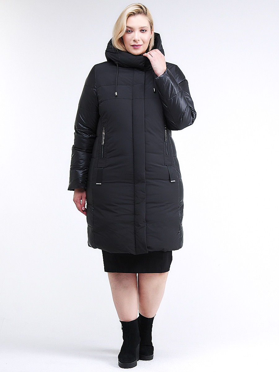 Купить оптом Куртка зимняя женская классическая черного цвета 100-921_701Ch в  Красноярске