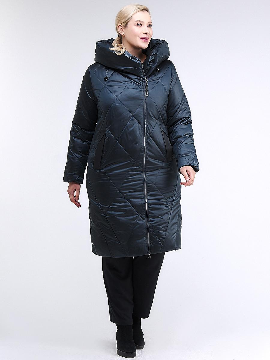 Купить оптом Куртка зимняя женская стеганная темно-зеленый цвета 105-917_123TZ в Казани
