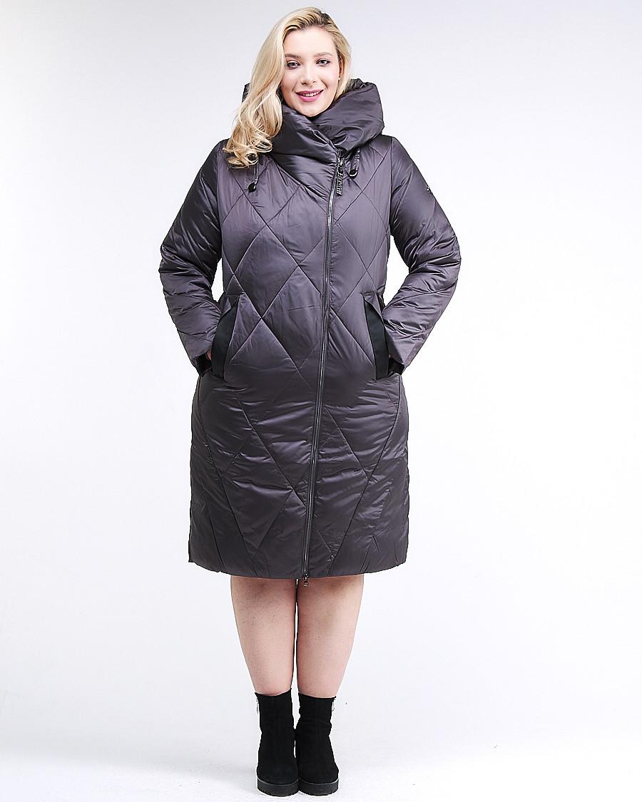 Купить оптом Куртка зимняя женская стеганная темно-серого цвета 105-917_58TC в Екатеринбурге