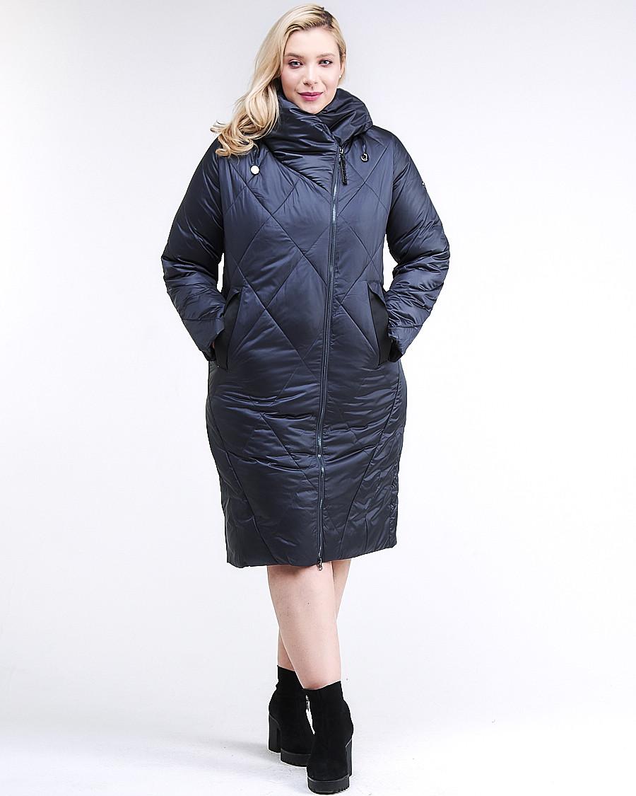 Купить оптом Куртка зимняя женская стеганная темно-синего цвета 105-917_84TS в  Красноярске