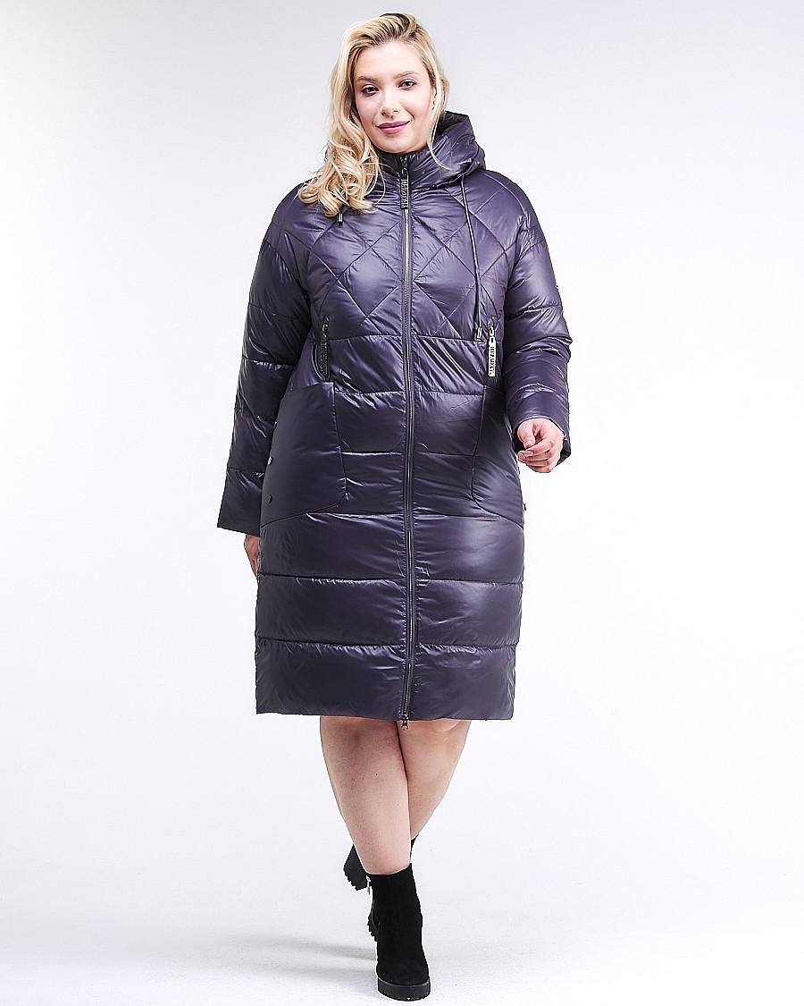 Купить оптом Куртка зимняя женская стеганная темно-фиолетового цвета 105-918_24TF в Казани