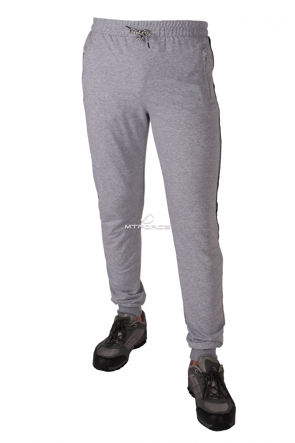 Купить  оптом Брюки трикотажные мужские серого цвета 1073Sr в Санкт-Петербурге