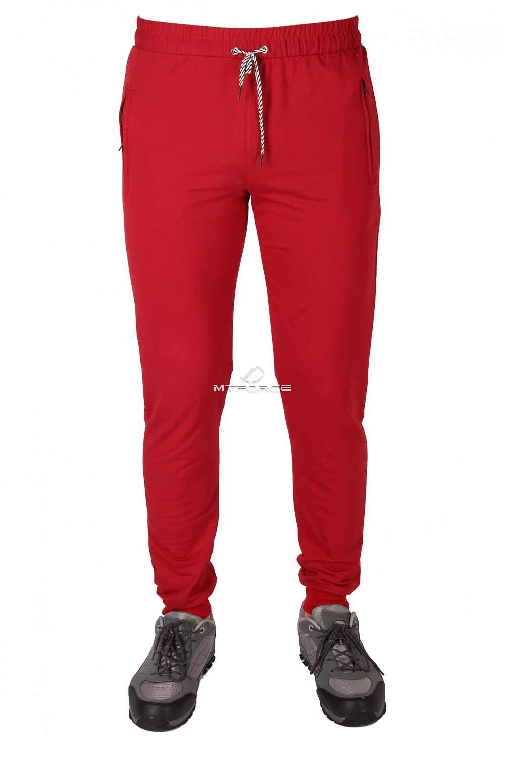 Купить оптом Брюки трикотажные мужские бордового цвета 1073Br