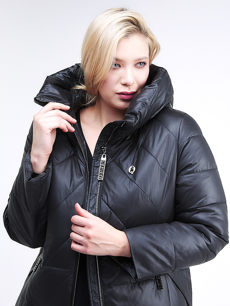Купить оптом Куртка зимняя женская классическая черного цвета 108-915_701Ch в  Красноярске