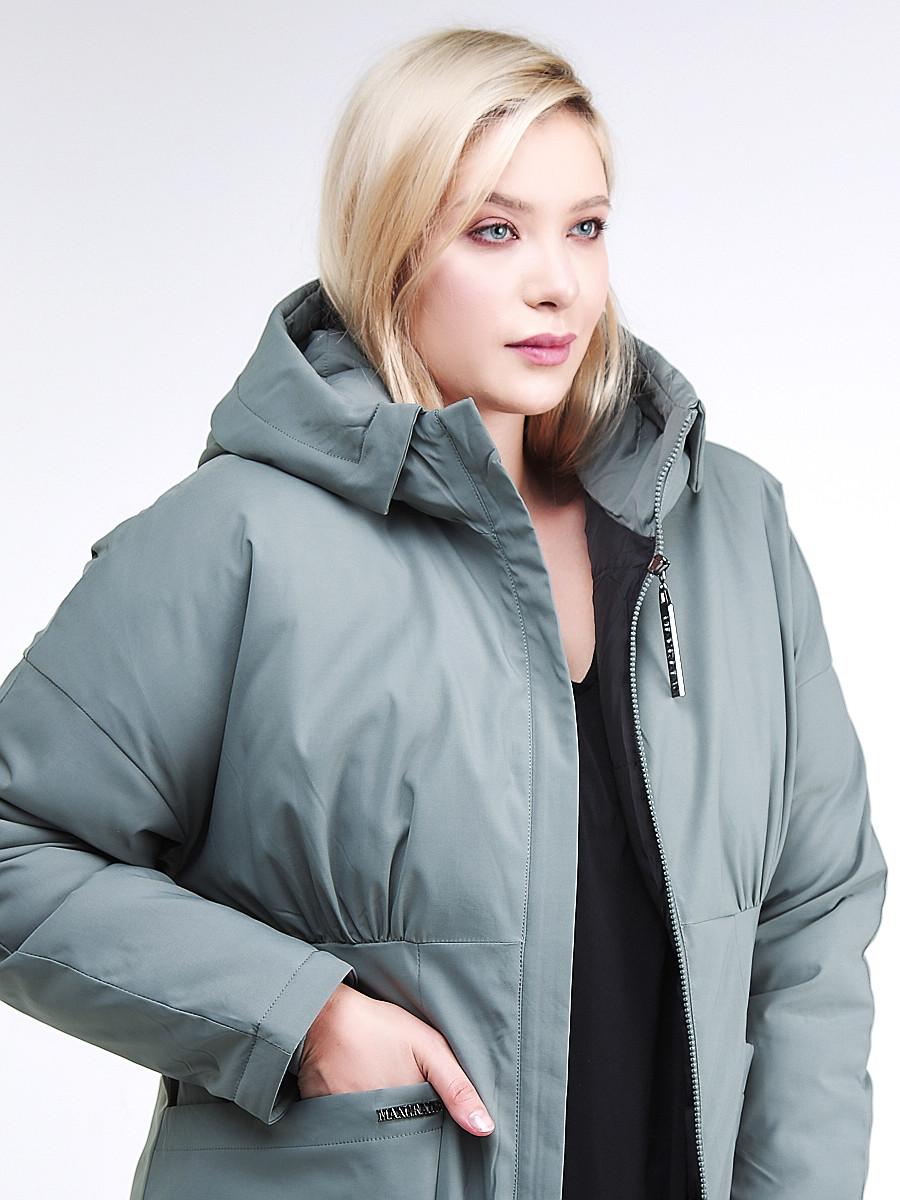 Купить оптом Куртка зимняя женская классическая цвета хаки 110-905_7Kh в Нижнем Новгороде