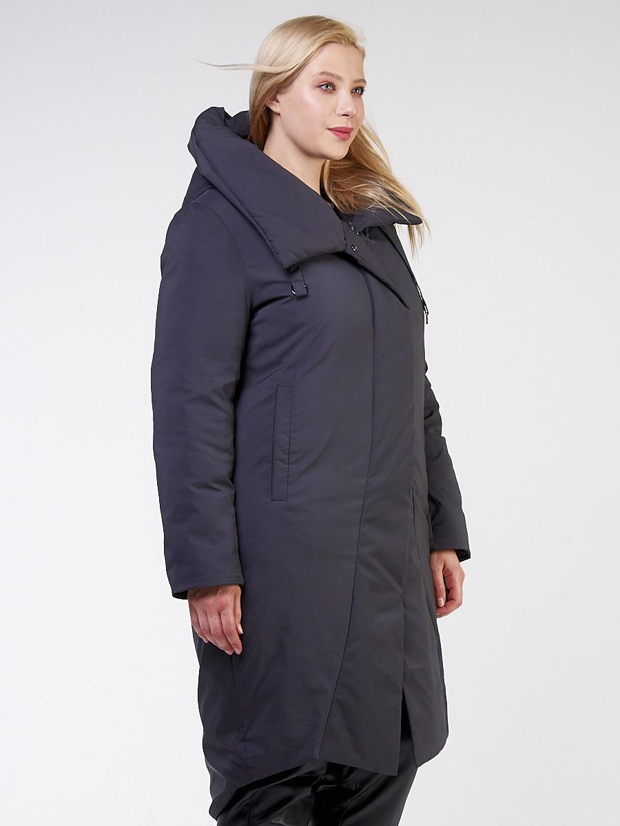 Купить оптом Куртка зимняя женская классическая темно-серого цвета 118-932_18TC