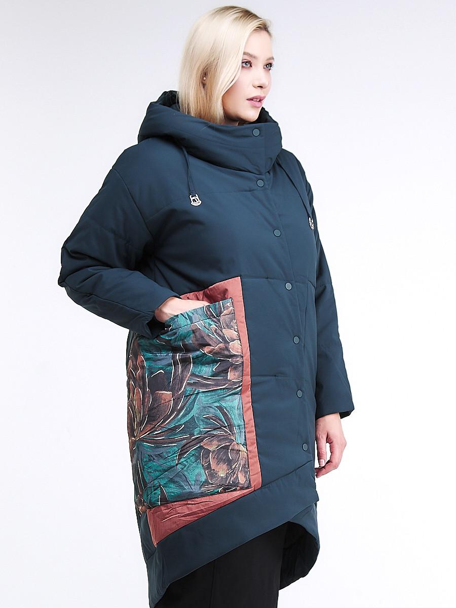 Купить оптом Куртка зимняя женская классическая БАТАЛ темно-зеленого цвета 112-901_14TZ в Казани