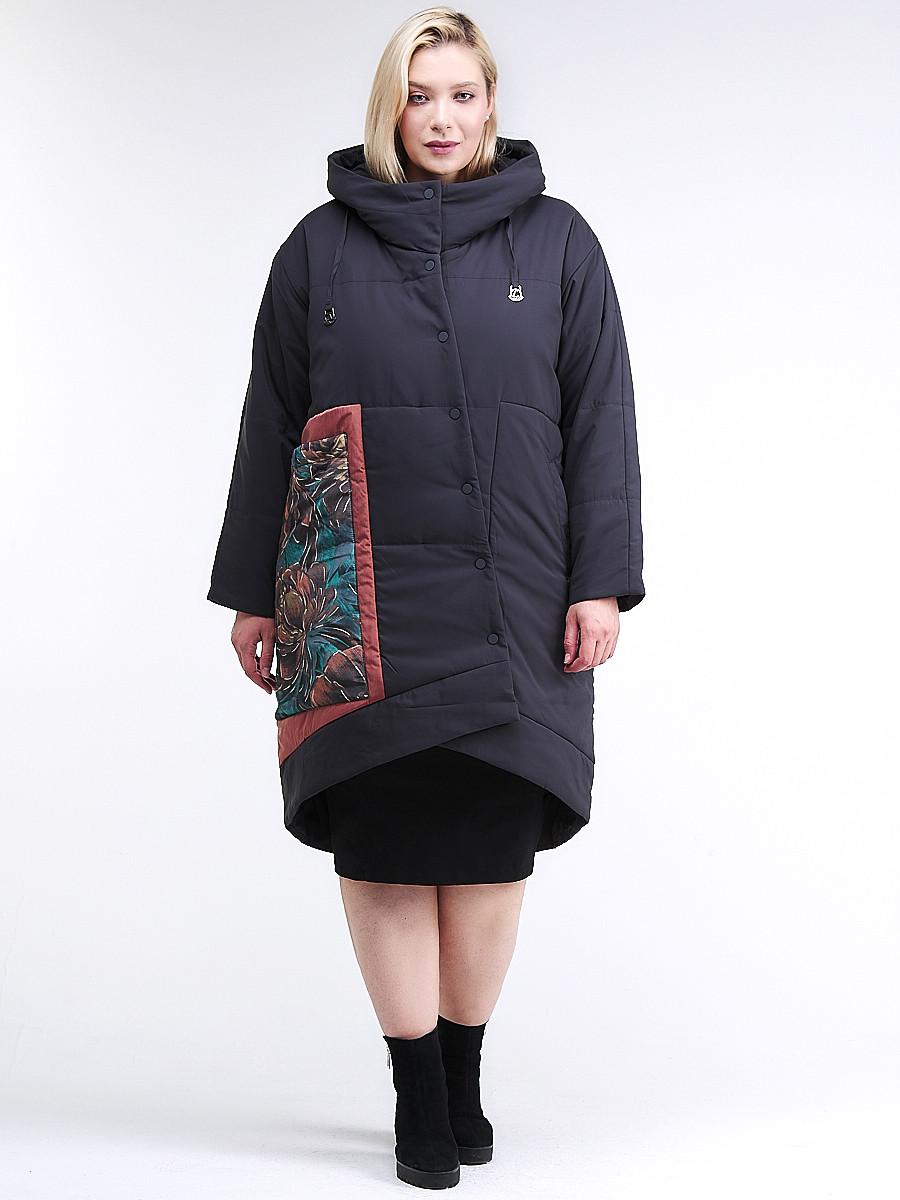 Купить оптом Куртка зимняя женская классическая БАТАЛ темно-серого цвета 112-901_18TC в Казани