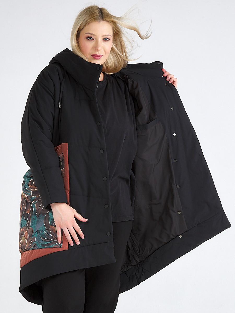 Купить оптом Куртка зимняя женская классическая БАТАЛ черного цвета 112-901_701Ch в Казани