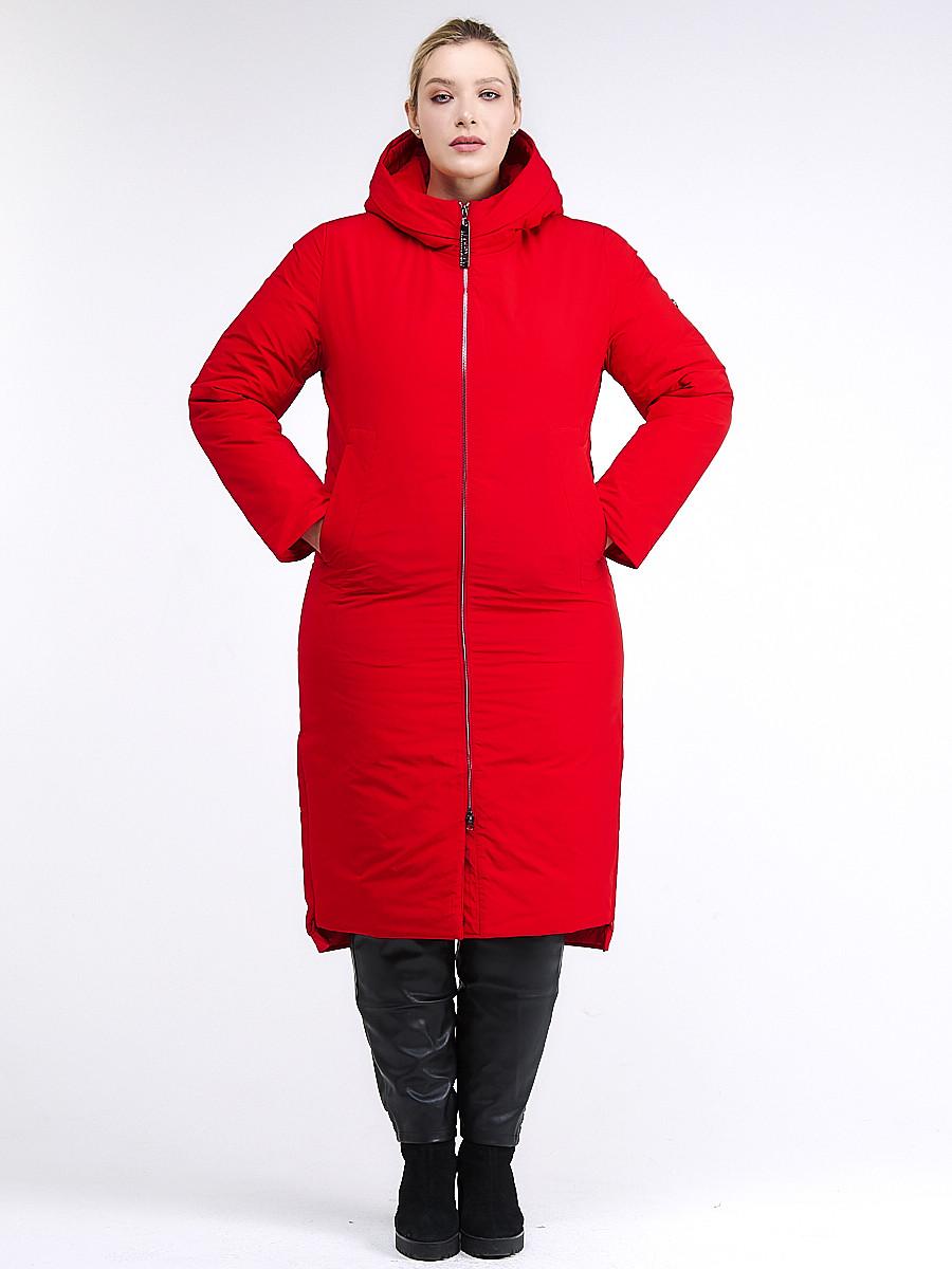 Купить оптом Куртка зимняя женская удлиненная красного цвета 112-919_7Kr в Екатеринбурге