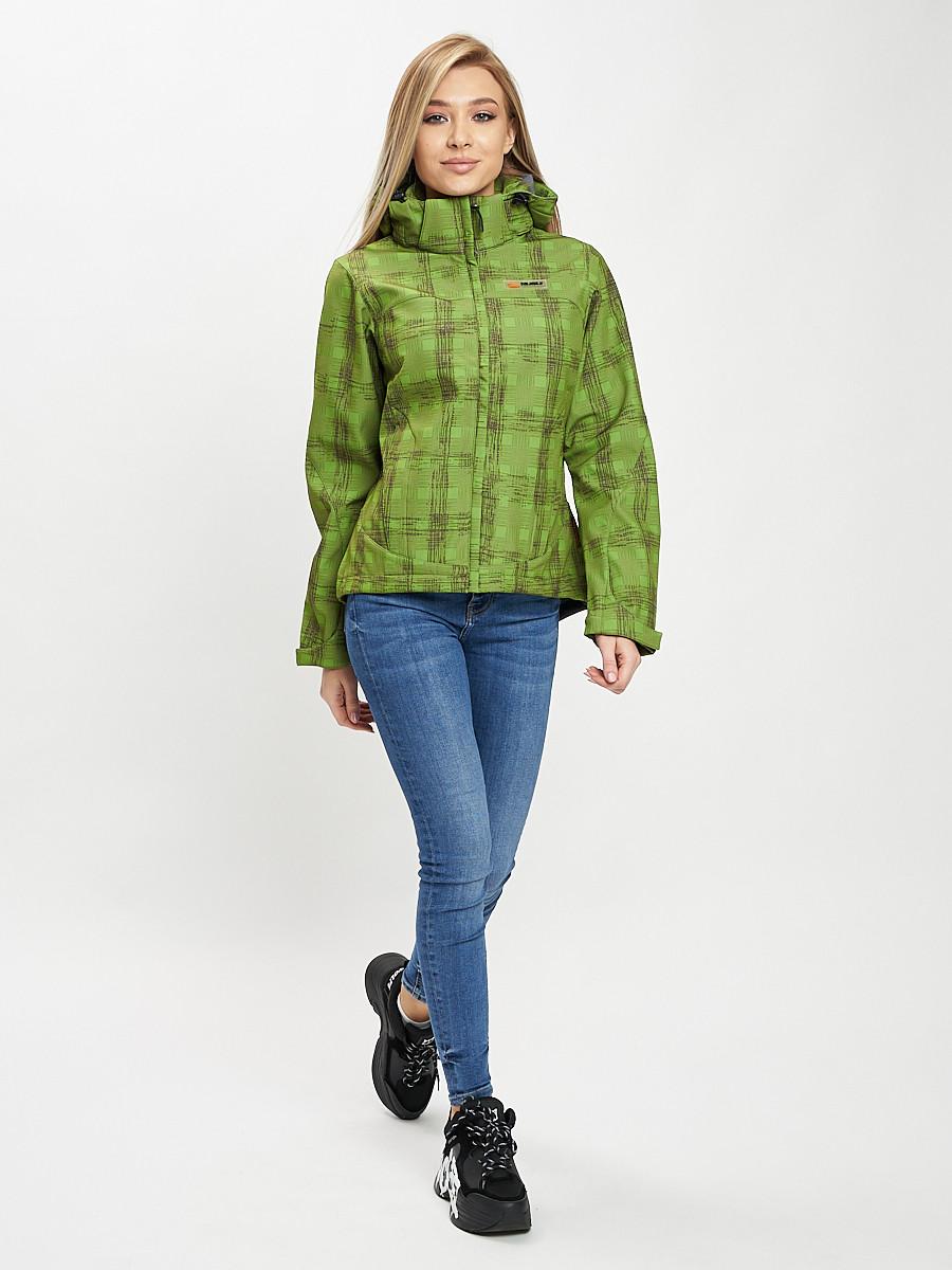 Купить оптом Ветровка женская зеленого цвета 1155Z в Екатеринбурге
