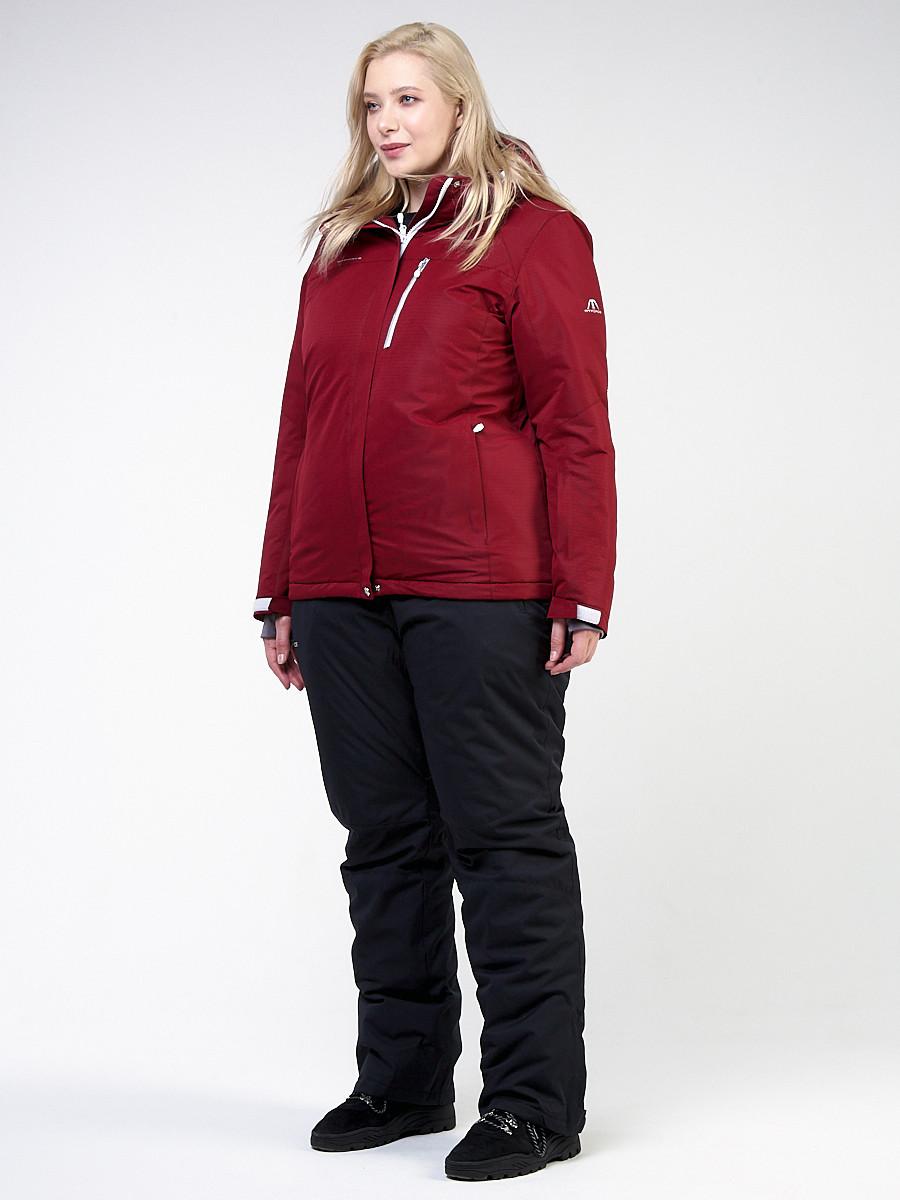 Купить оптом Костюм горнолыжный женский большого размера бордового цвета 011982Bo в Санкт-Петербурге