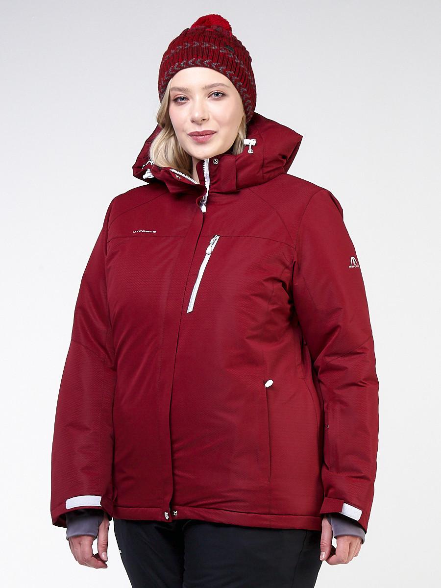 Купить оптом Куртка горнолыжная женская большого размера бордового цвета 11982Bo в Новосибирске