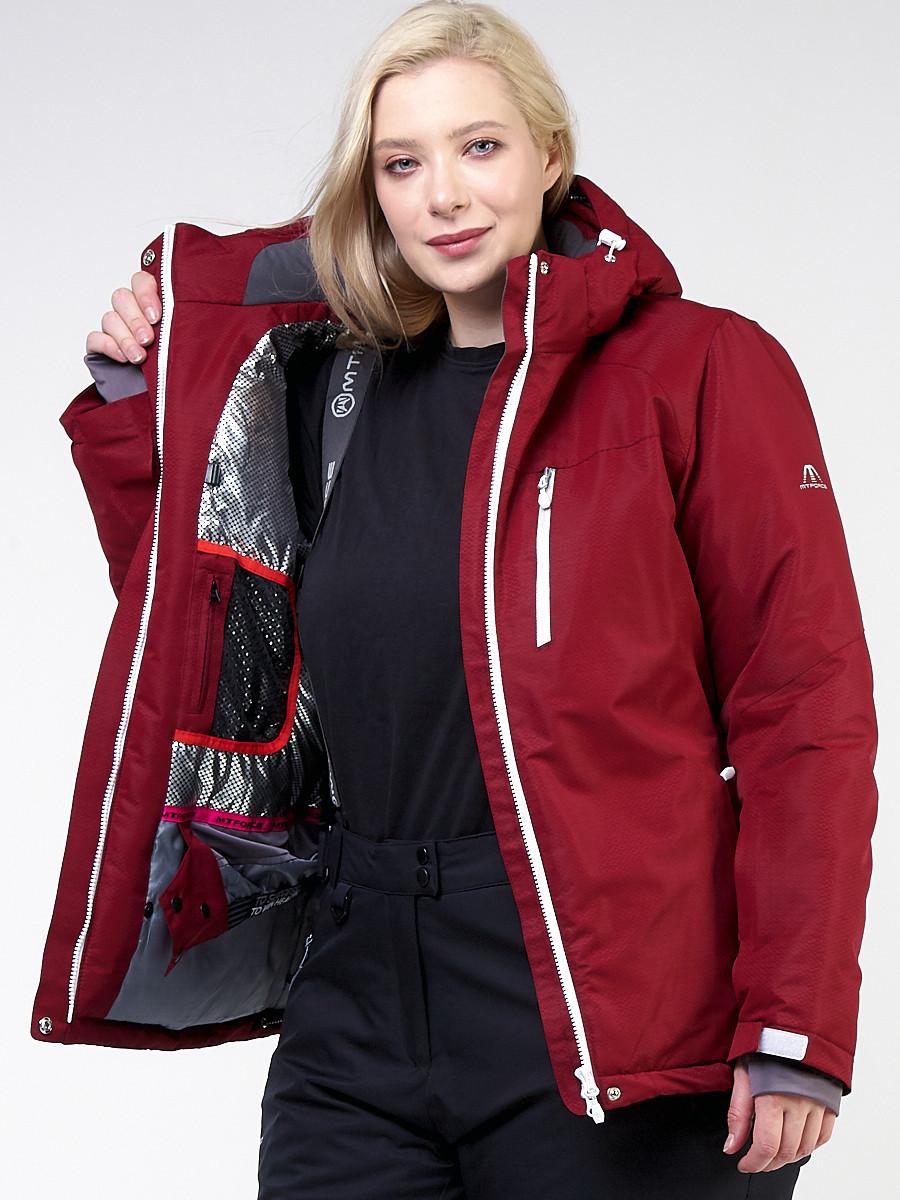 Купить оптом Куртка горнолыжная женская большого размера бордового цвета 11982Bo в Перми