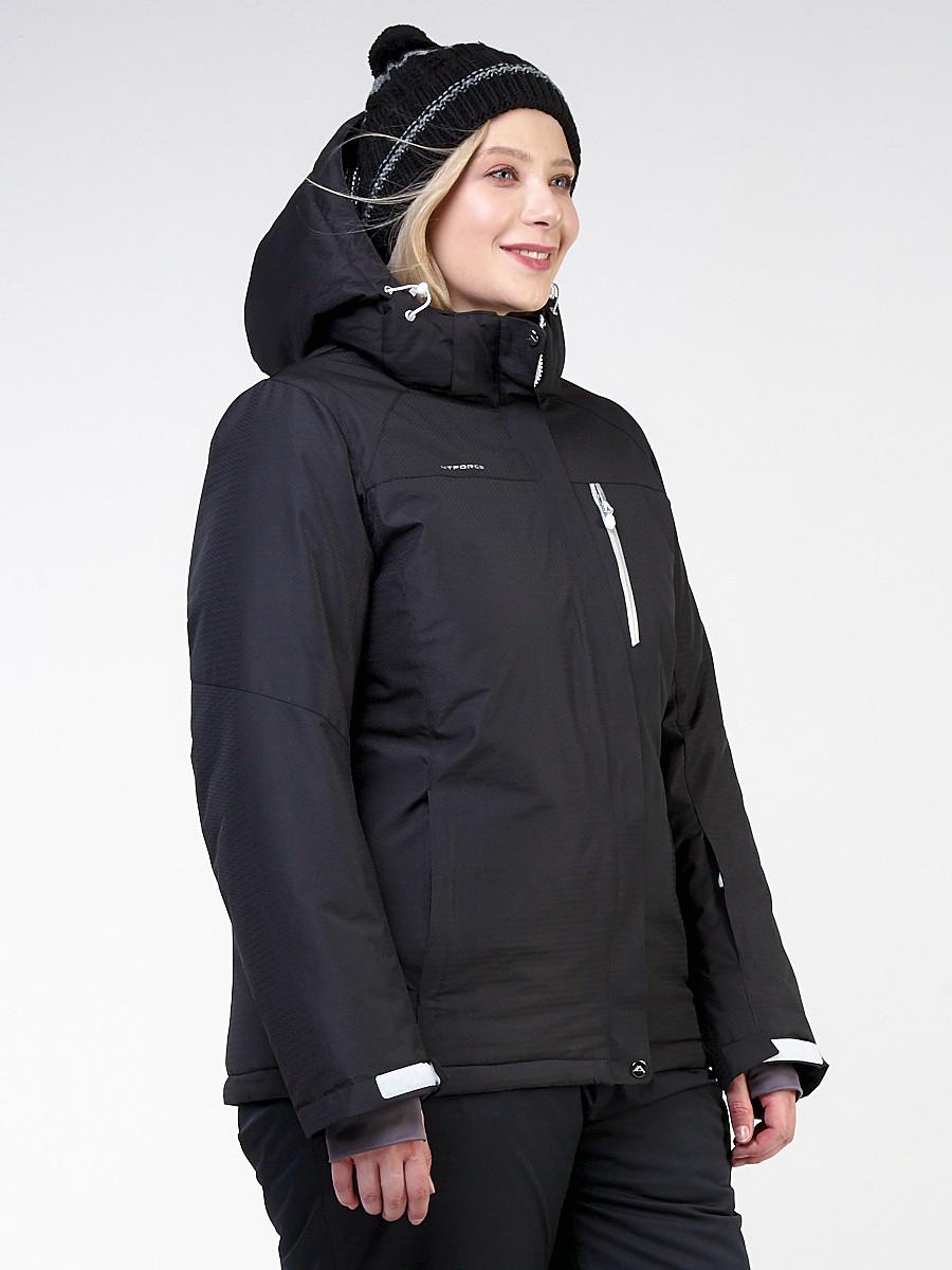 Купить оптом Куртка горнолыжная женская большого размера черного цвета 11982Ch в Екатеринбурге