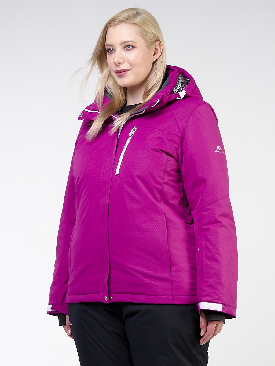 Купить оптом Куртка горнолыжная женская большого размера фиолетового цвета 11982F в Перми