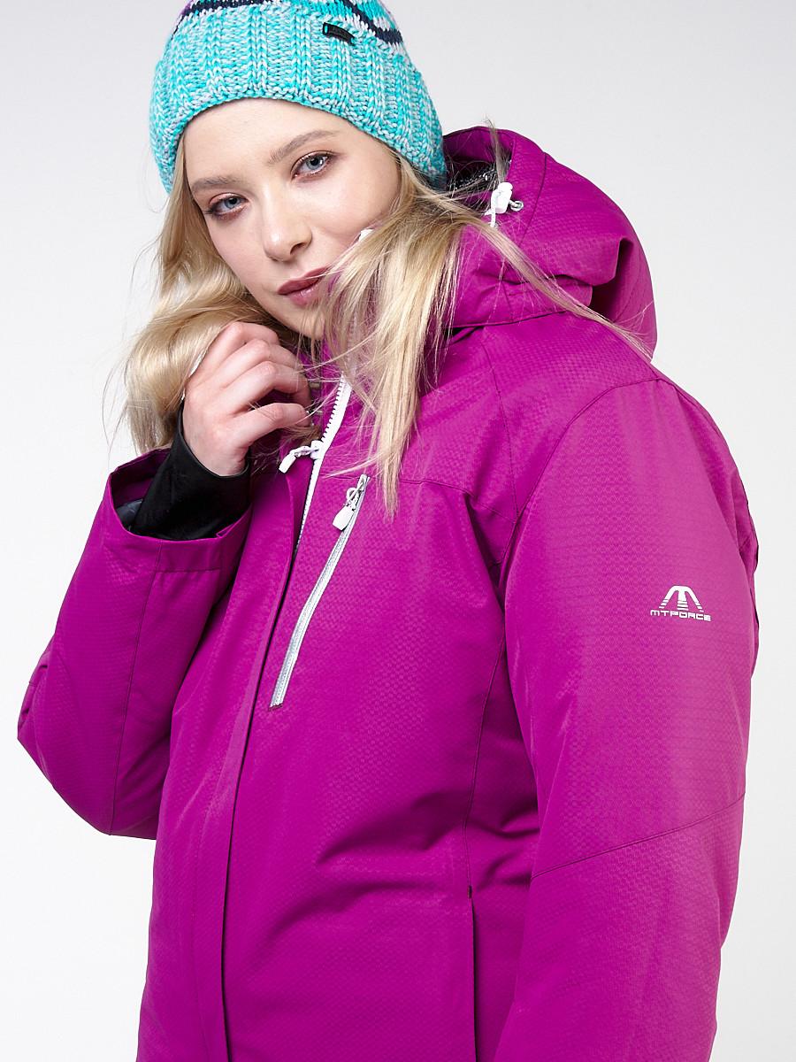 Купить оптом Костюм горнолыжный женский большого размера фиолетового цвета 011982F