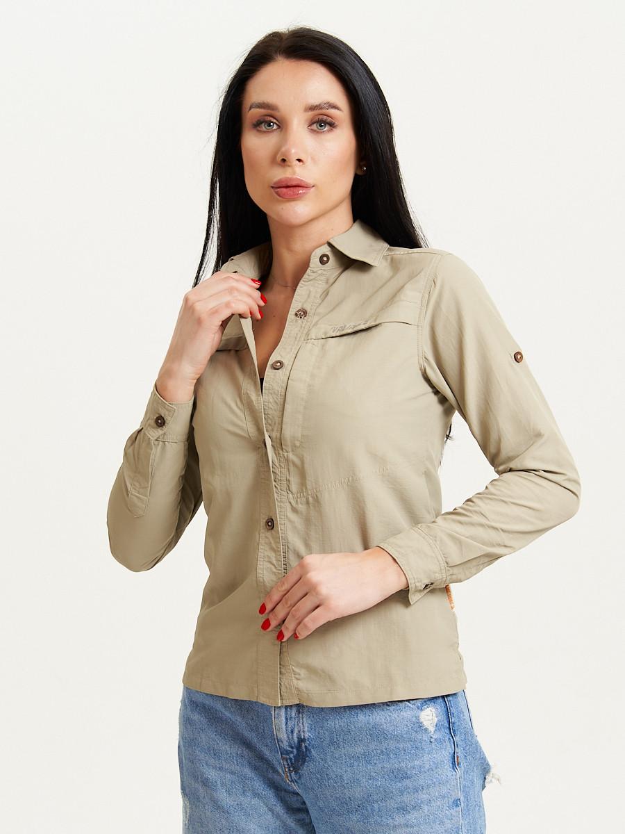Купить оптом Рубашка классическая женская бежевого цвета 12002B в Екатеринбурге