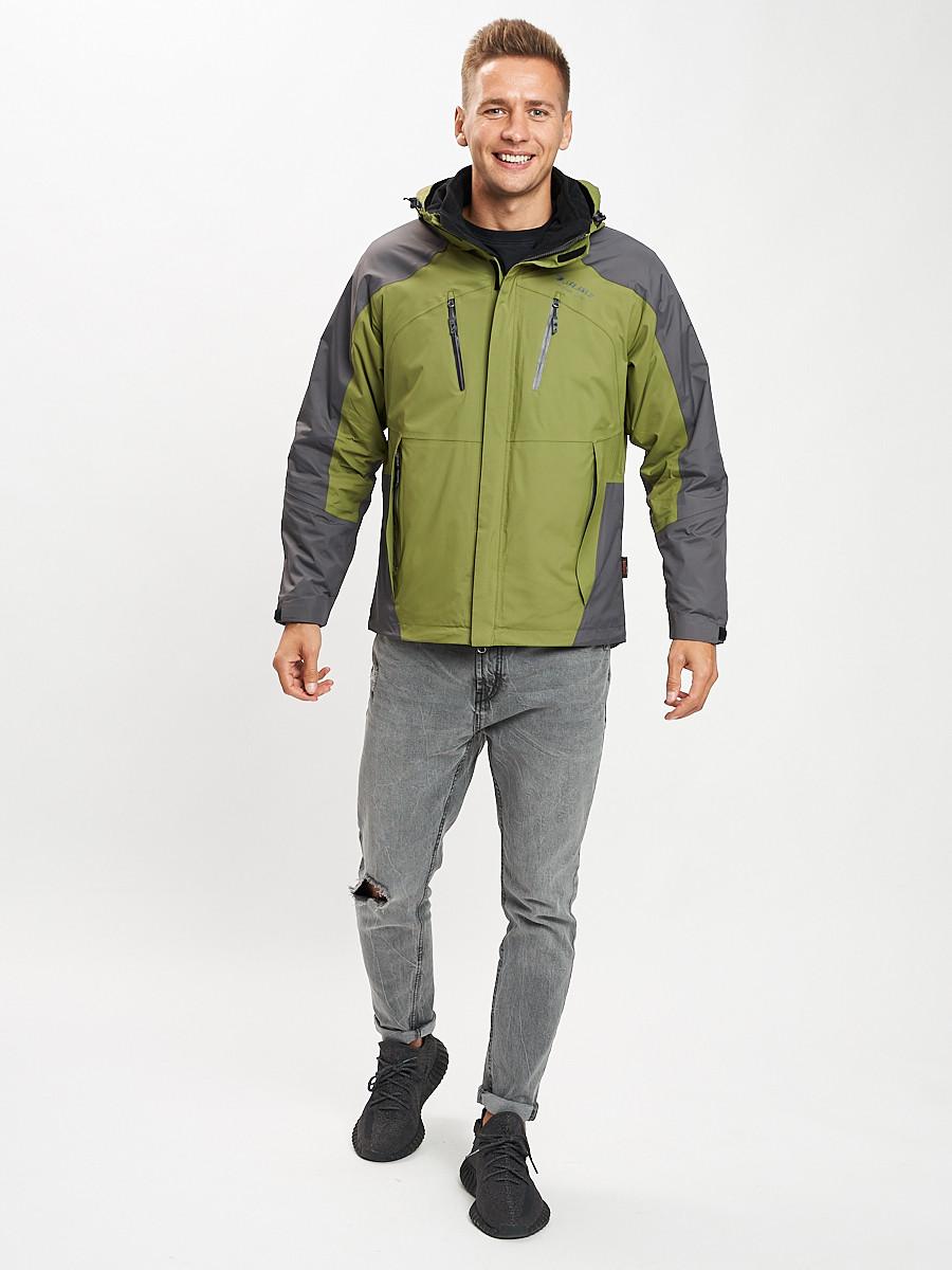 Купить оптом Куртка демисезонная 3 в 1 зеленого цвета 12005Z в Екатеринбурге