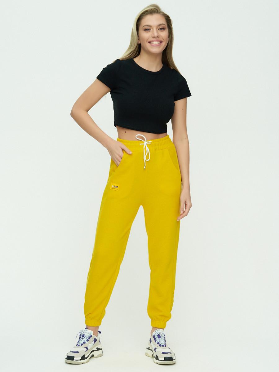 Купить оптом Штаны джоггеры женские желтого цвета 1302J в Екатеринбурге
