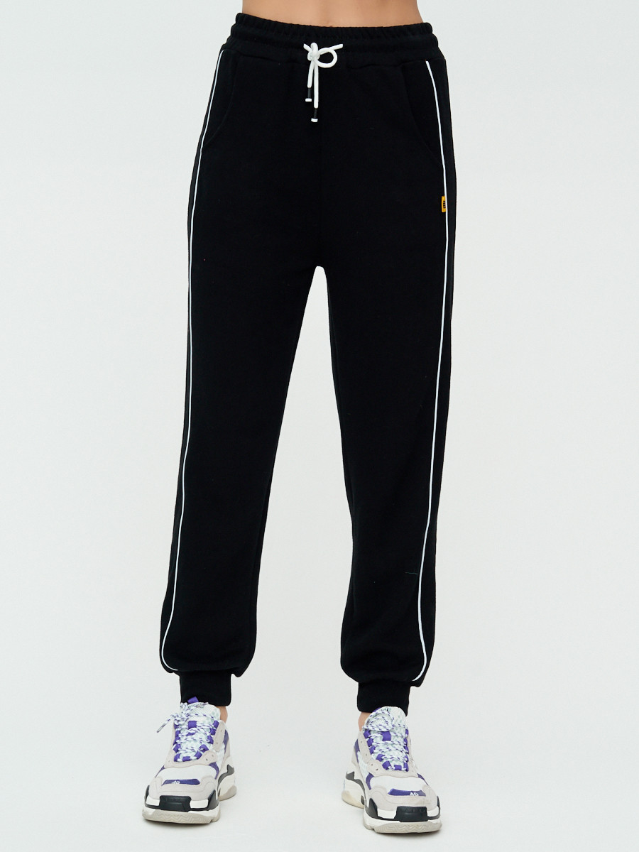 Купить оптом Спортивные брюки женские черного цвета 1306Ch в Казани