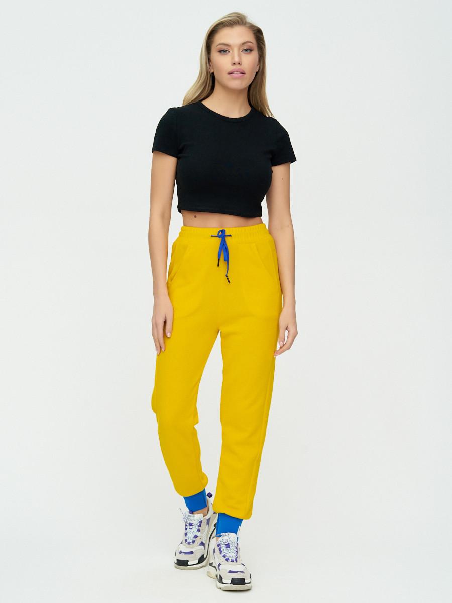 Купить оптом Спортивные брюки женские желтого цвета 1307J в Екатеринбурге