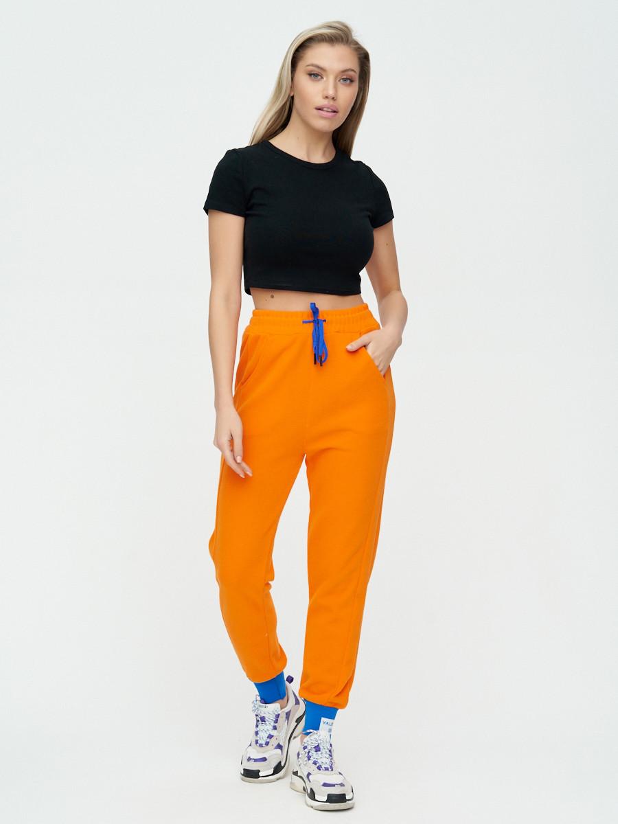 Купить оптом Спортивные брюки женские оранжевого цвета 1307O в Екатеринбурге