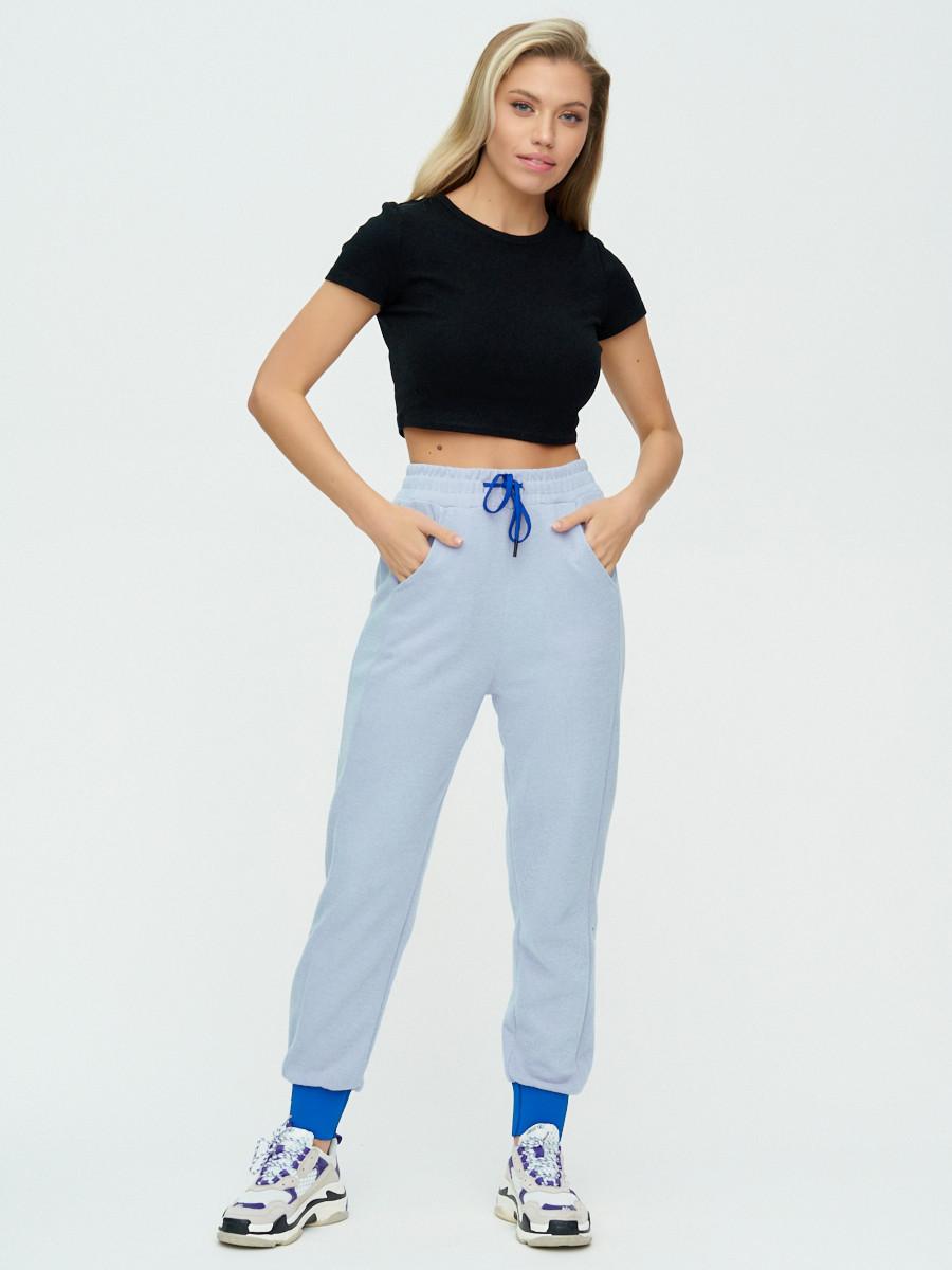 Купить оптом Спортивные брюки женские голубого цвета 1307Gl в Екатеринбурге