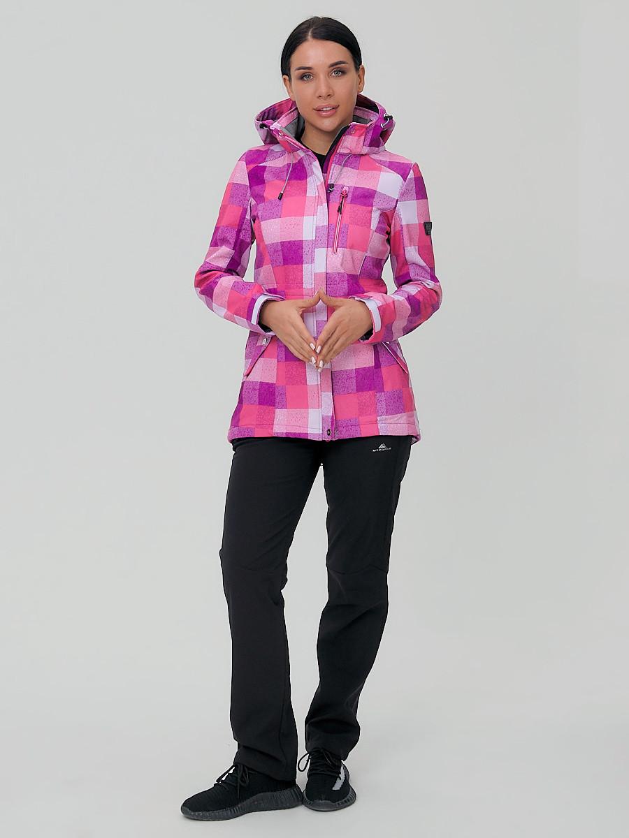 Купить оптом Костюм женский softshell розового цвета 01923R в  Красноярске