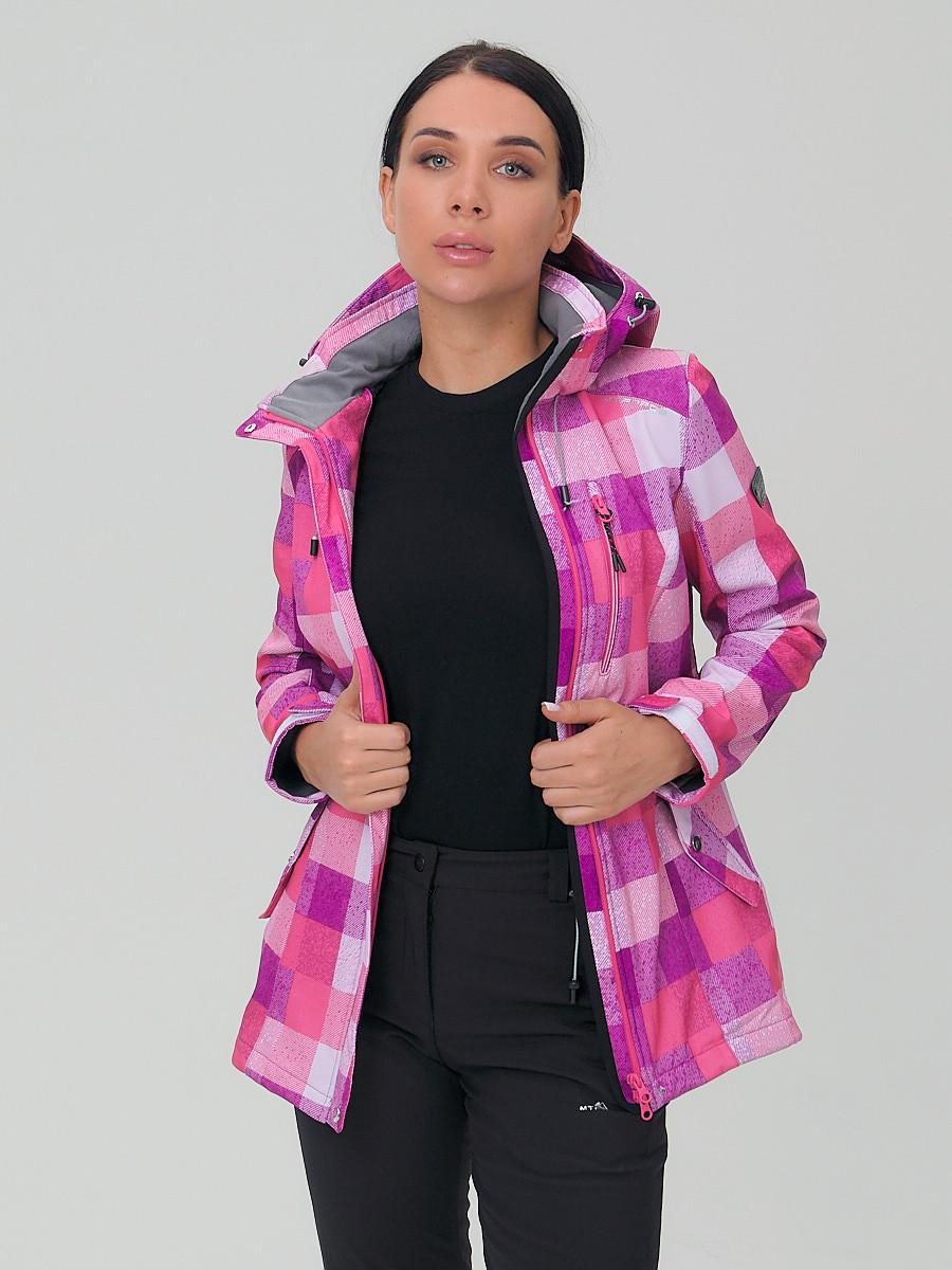 Купить оптом Костюм женский softshell розового цвета 01923R в Сочи