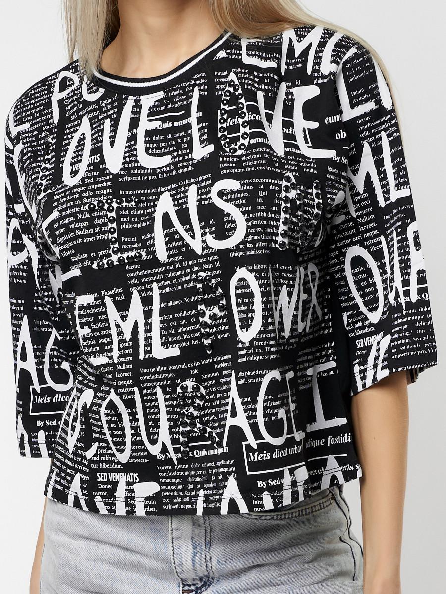 Купить оптом Топ футболка женская черного цвета 14008Ch в Екатеринбурге