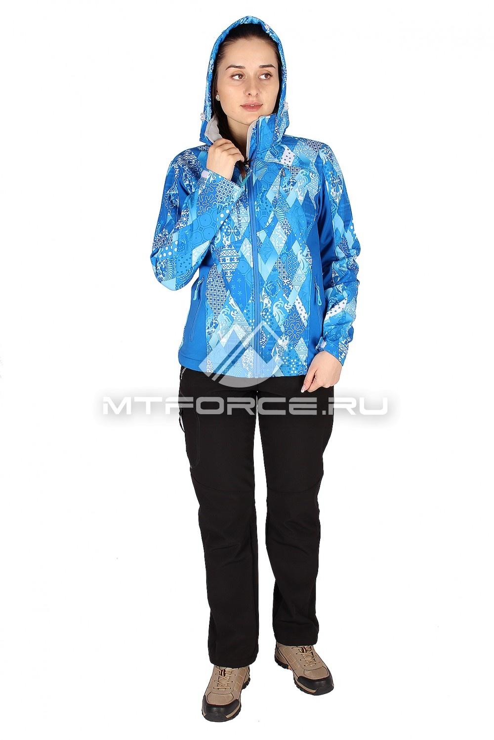 Купить оптом Костюм виндстопер женский синего цвета 014110S